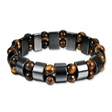 Simple Style Black Magnet Stone Chain Tiger's Eye Beads Health Care Bracelet for Men Women