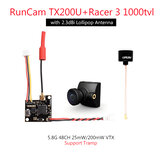 RunCam TX200U VTX + Racer 3 1000TVL CAM 5.8Ghz 48CH 25mW/200mW FPV Camera Transmitter Combo Plug and Play Support Tramp