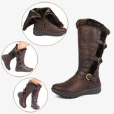 Women Retro Plush Lining Warm Casual Mid Calf Snow Boots