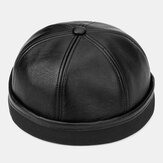 Banggood Design Men Solid Color PU Leather Beanie Brimless Landlord Cap Czapka z czaszką