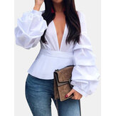 Long Lantern sleeve V-neck Solid Casual Blouse For Women