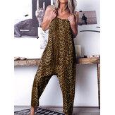 Lässiger, ärmelloser, lockerer Sling mit Leopardenmuster Jumpsuit mit Taschen