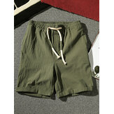 Mens Cotton Breathable Solid Color Elastic Drawstring Casual Shorts