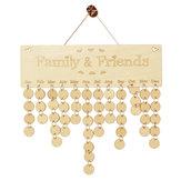 Calendário de calendário de madeira Calendário DIY Família Amigos Aniversário Calendário Cadastre-se Datas especiais Planner Board Pendurado para Dom Decor Gift