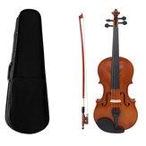 Violino acústico Basswood de vários tamanhos com arco Caso para iniciantes em violino
