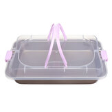 Cake Pan Carbon Steel Cook & Carry Pan Kitchen Baking Tray Bakeware With Lid