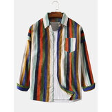 Chemises en velours côtelé pour hommes Colorful Stripe Chest Pocket Casual manches longues revers