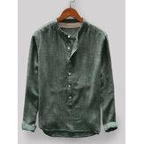 Mannen Vintage losse comfortabele effen kleur knop vliegen staan kraag Casual T-shirts met lange mouwen