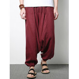 Men Cotton Linen Harem Pants Casual Baggy Loose Trousers Fashion Wide Legs Trousers