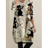 Women Cats Performing Print O-Neck Casual Midi Plus Size Dress