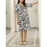 Women Zebra Pattern Print Round Neck Short Sleeve Casual Breathable Nightgown