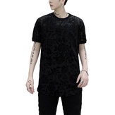 Men's Floral Printed Shirts Short Sleeve Clubwear Soft Top Shirt See Through Mesh Blouses