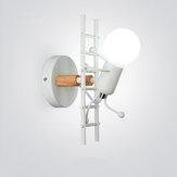 İskandinav Duvar Lamba Yaratıcı Küçük Adam Demir Işıkları Metal Basit Karikatür Robot Aplik Lambas Kapalı Sanat Dekor Işık Ampul Olmadan