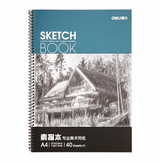 Deli 7698 A4 Art Sketch Pad Graffiti Paper for Drawing 40Pages Pure Wood Polpa Pintura Dupla Adesiva Papel Papelaria Material Escolar Sketch