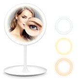 HOCOSY LED Iluminado Maquillaje Espejo Espejo de aumento de 5 aumentos desmontable de 3 colores con bandeja de almacenamiento