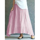Mujer vendimia Falda larga larga casual de algodón plisado