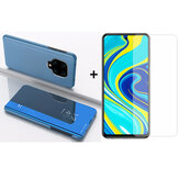 Bakeey 9H Anti-explosion Anti-scratch Tempered Glass Screen Protector + Skyblue Plating Mirror Window Shockproof Flip Full Cover Protective Case for Xiaomi Redmi Note 9s / Redmi Note 9 Pro / Redmi Note 9 Pro Max Non-original