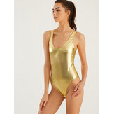 Women Gold Reflective High Fork Swimwear Hot One Piece