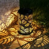 Vintage LED Solar Lantern Lights Garden Hanglamp Leaf Pattern Yard Decor