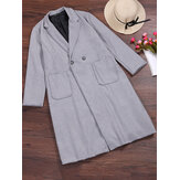 S-5XL Mulheres Turn-Down Collar Button Wool Outwear Coat