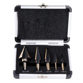 Drillpro 5pcs HSS Step Drill Bit Set Hole Cutter Drilling Tool Multiple Hole 50 Sizes with Aluminum Case