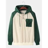 Mens Corduroy Patchwork Texture Raglan Sleeves Chest Pocket Hoodies