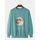 Mens Earth Astronaut Pattern Slogan Print Pullover Long Sleeve Cotton Sweatshirts