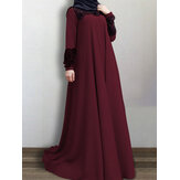 Women Lace Patchwork Big Swing Vintage O-Neck Casual Long Sleeve MuslimDress