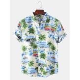 Mens Designer Cartoon Coco Car Landscape Print Short Sleeve Hawaii Casual Shirts