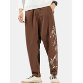 Mens Cotton Oriental Bamboo Print Breathable Button Casual Pants