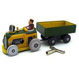 Classic Vintage Clockwork Tractor Nostalgic Wind Up Children Kids Tin Toys With Key