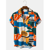Heren Preppy Style Color Block Pocket Casual-shirts