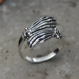 Vintage 925 Silver Tail Ring Domineering Skull Hand Men Ring Jewelry Gift