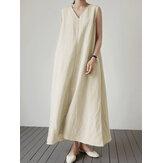 Damska letnia sukienka maxi w stylu vintage w jednolitym kolorze