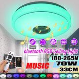 33CM 70W bluetooth Smart LED Luz de techo Altavoz musical Control remoto Control de aplicaciones RGBW Color Lámpara AC180-265V