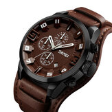SKMEI 9165 Business Style Leather Strap Men Quartz Watch