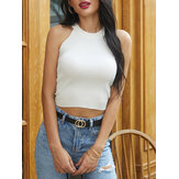 Solid Color O-neck Halter Summer Knitting Casual Tank Tops