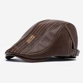 Banggood Design PU in pelle tinta unita da esterno Keep Warm Forward Hat Beret Hat