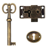 Cabinet Door Lock Set Key Antique Jewelry Makeup Case Furniture Door Drawer Lock