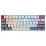 Geek Özelleştirilmiş SK61 61 Anahtar Mekanik Klavye NKRO Gateron Optik Eksen Type-C Kablolu RGB Arka Işık Beyaz Kılıf Oyun Klavye