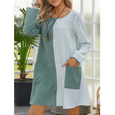 Women Contrast Color O-Neck Long Sleeve Casual Dress With Pocket