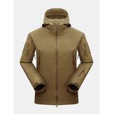 Mens Waterproof Multi-Zipper Pocket Tebal Turtleneck Mantel Olahraga Luar Ruangan Berkerudung