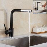 Moderne Pull Out Spray évier de cuisine robinet bassin mélangeur 360 ° Rotation Monotrou Laiton Noir