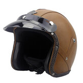 DOT 3/4 Face Vintage Leather Motorcycle Helmet Motorbike Scooter Crash Visor ML XL