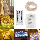 10M 100LED Flexible Waterproof String Light 8 Modes Holiday Christmas DIY Copper Wire Lamp with Remote Controller