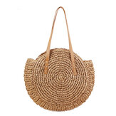 43 x 10 x 62cm Round Straw Beach Bag Woven Shoulder Bag Handbag