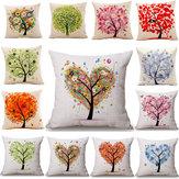 45x45cm Árbol Decorativo y Homing Season Life Cotton lino brillante colorida funda de almohada