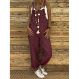 Women Casual Straps Solid Color Overalls Jumpsuit with Behind Pocket