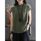 Women Lapel Button Down Loose Solid Blouse