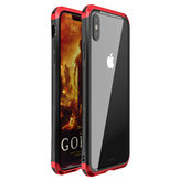Luphie Protective Case For iPhone XS Max Metal Bumper+9H Clear Tempered Glass Back Shell